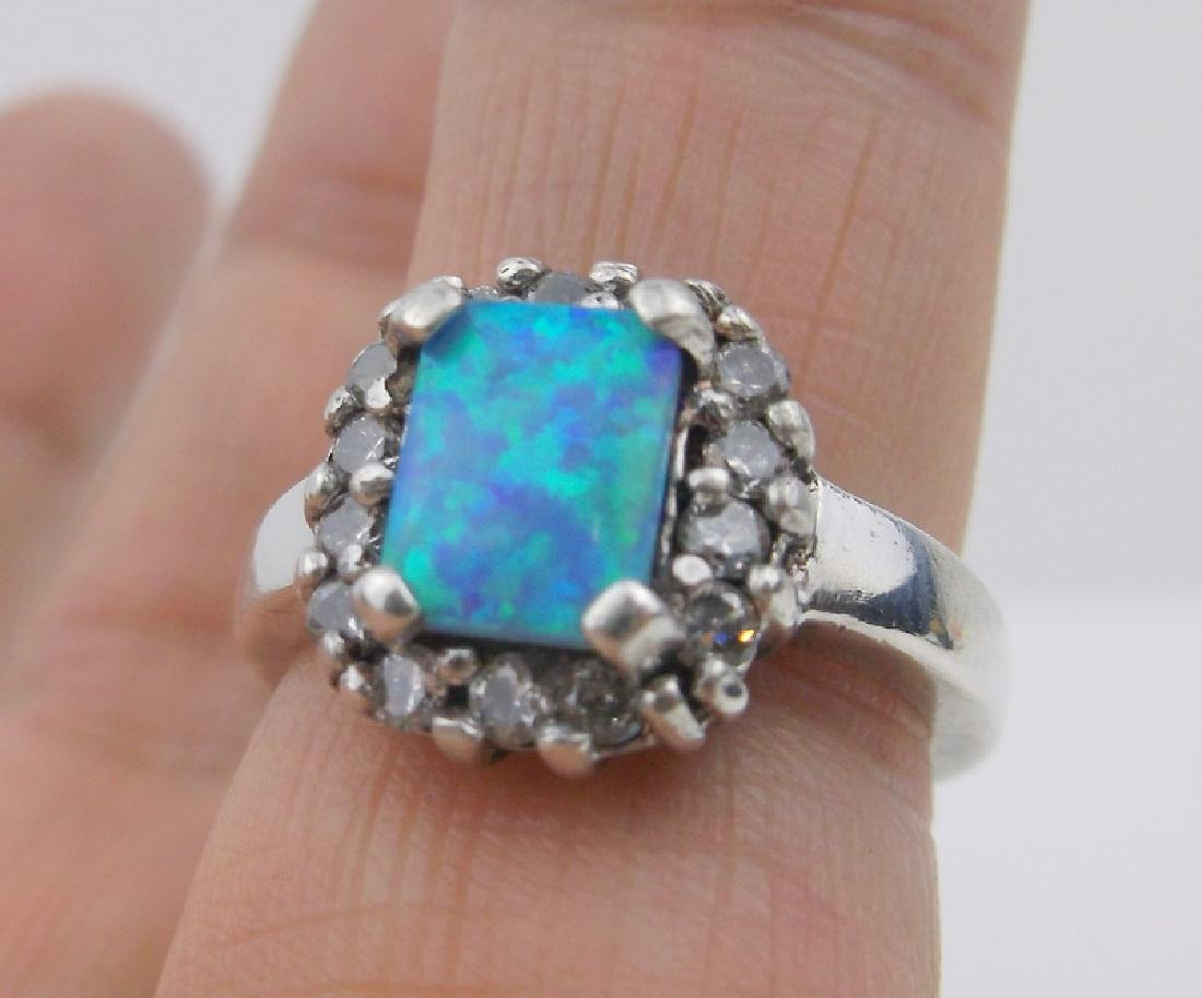Gorgeous Sterling Silver Fire Opal Ring 6.5