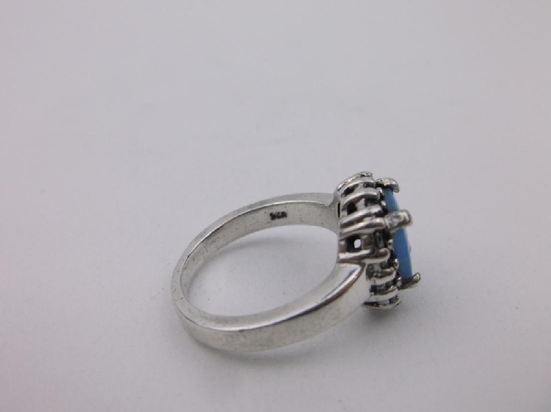 Gorgeous Sterling Silver Fire Opal Ring 6.5 - 2