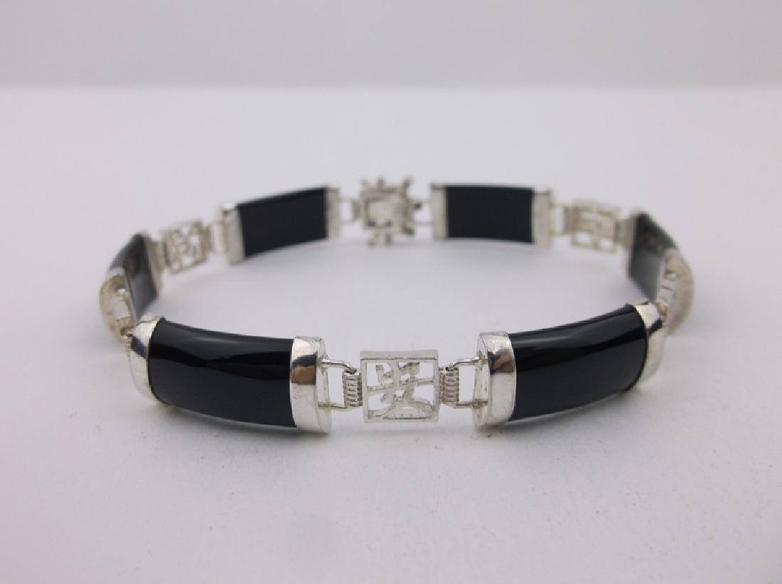 """Stunning Sterling Black Jade Bracelet 7.5"""""""