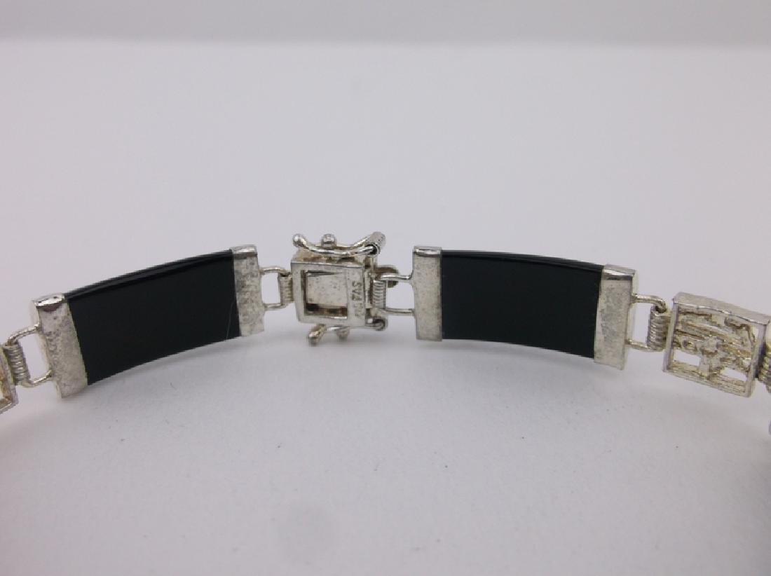 """Stunning Sterling Black Jade Bracelet 7.5"""" - 2"""
