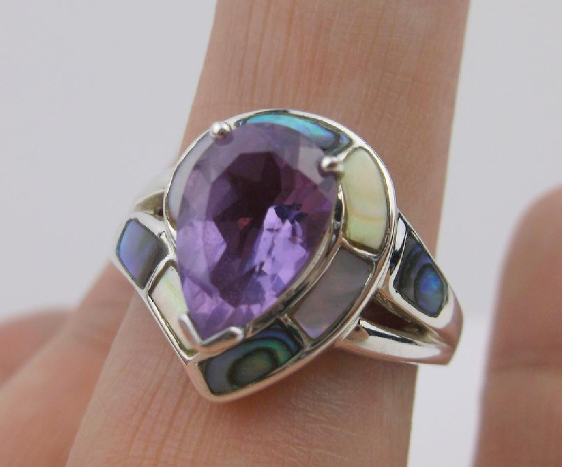 Stunning WK Sterling Amethyst Abalone Ring 10