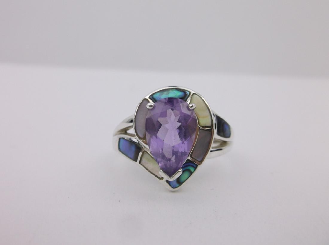 Stunning WK Sterling Amethyst Abalone Ring 10 - 2