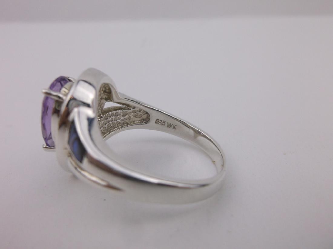 Stunning WK Sterling Amethyst Abalone Ring 10 - 3