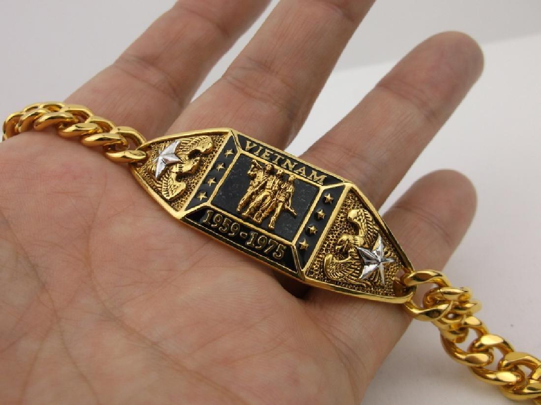 "Stunning Gold Over Sterling Vietnam Bracelet 7"" - 2"