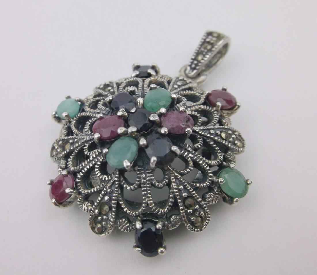 Sterling Ruby Emerald Sapphire Pendant Heavy