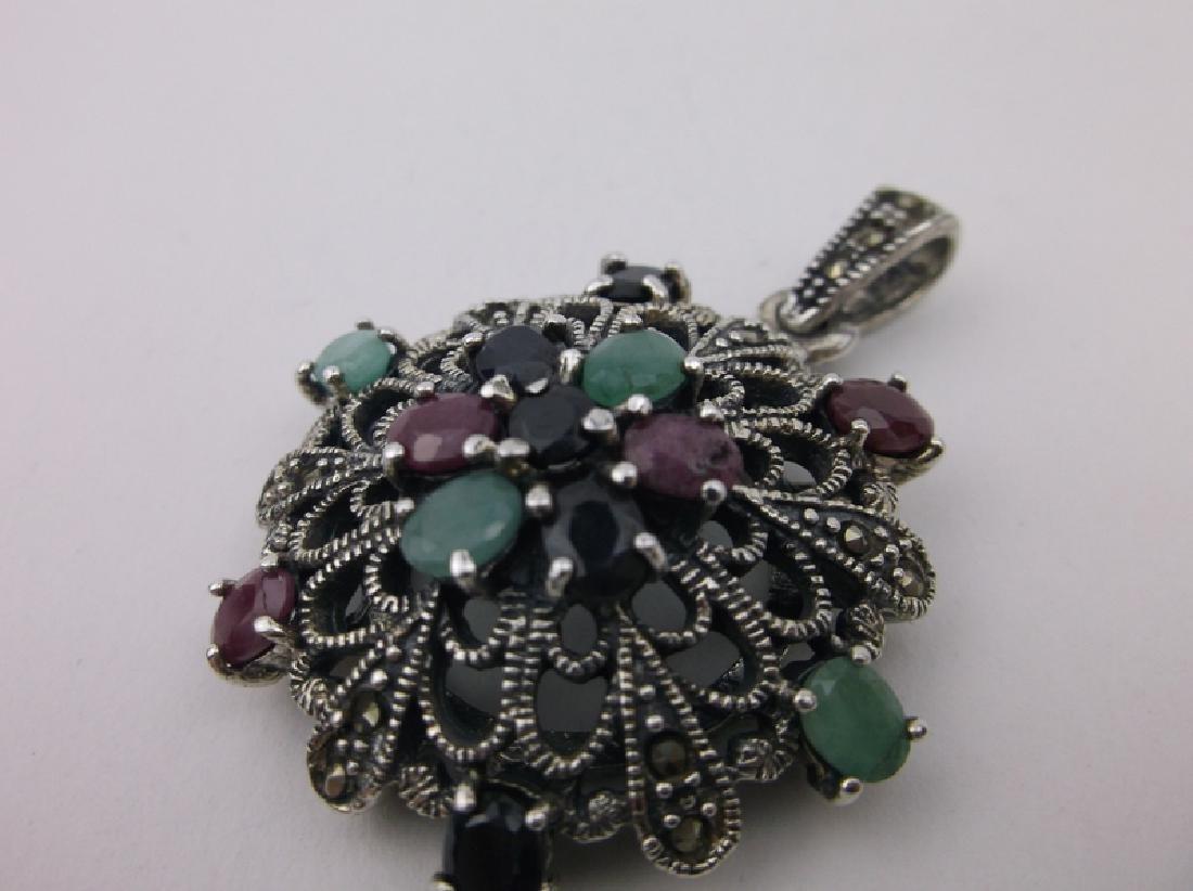 Sterling Ruby Emerald Sapphire Pendant Heavy - 2