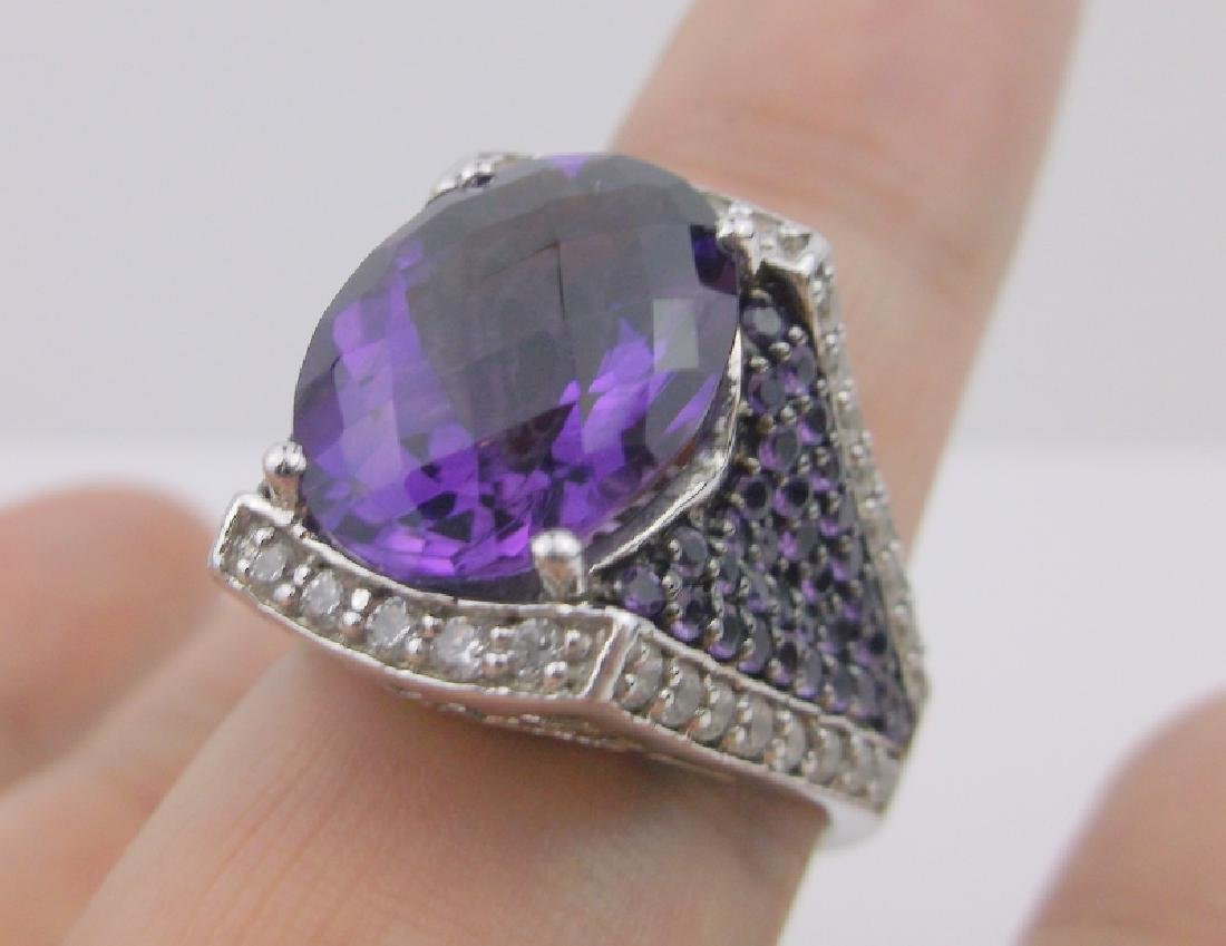 Stunning Sterling Amethyst Topaz Ring 10 Designer