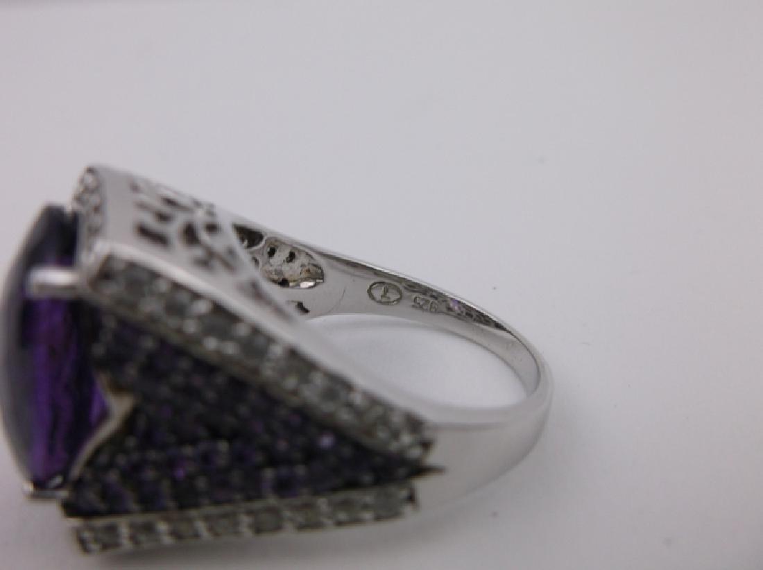 Stunning Sterling Amethyst Topaz Ring 10 Designer - 2