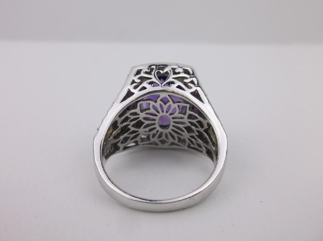 Stunning Sterling Amethyst Topaz Ring 10 Designer - 3