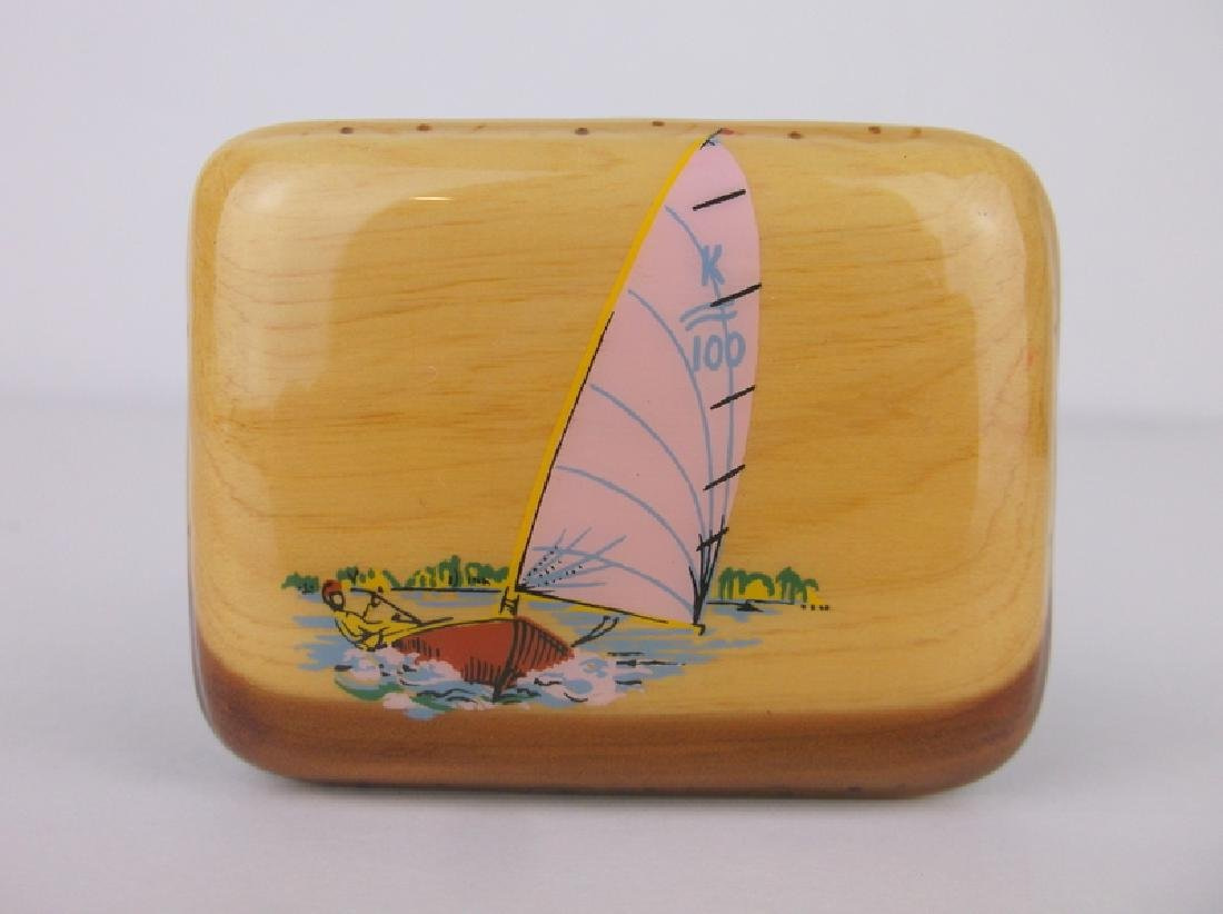 Stunning 1970s Hand Painted Sailboat Belt Buckle