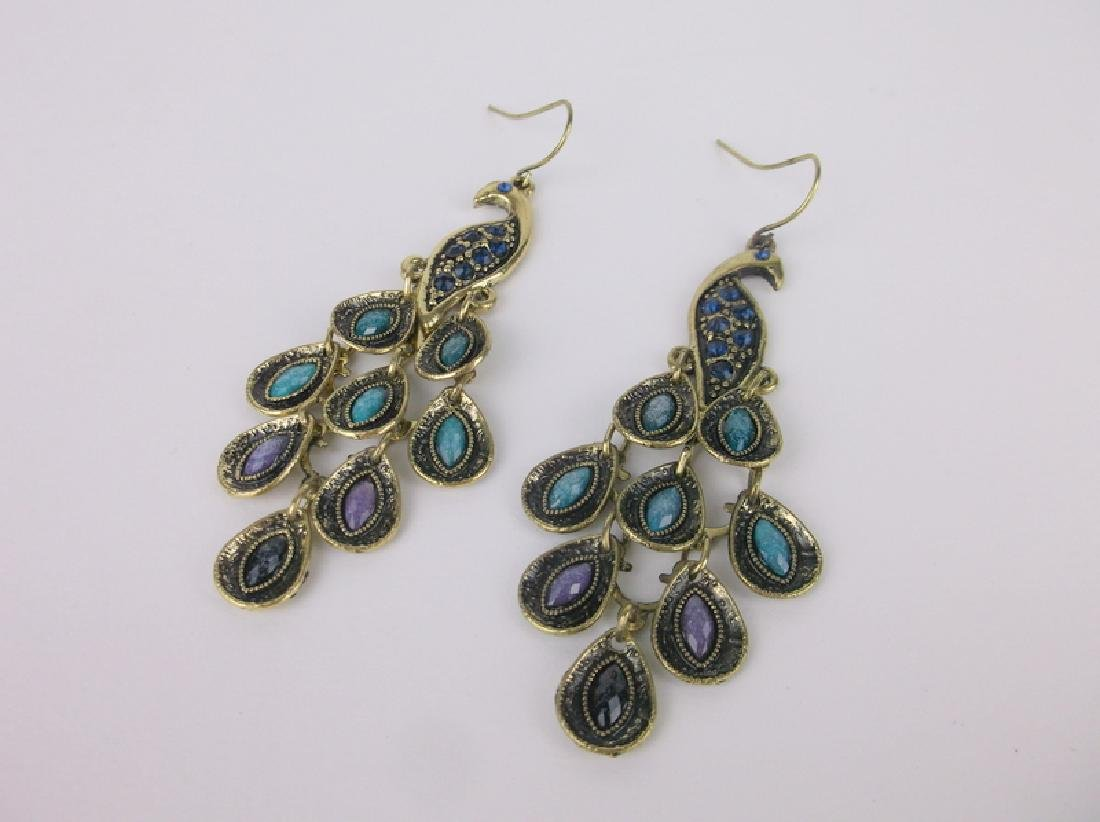 Stunning Peacock Drop Earrings Dangly