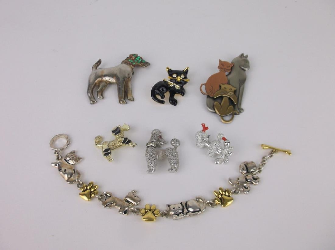 Vintage Dogs & Cats Brooch Jewelry Lot