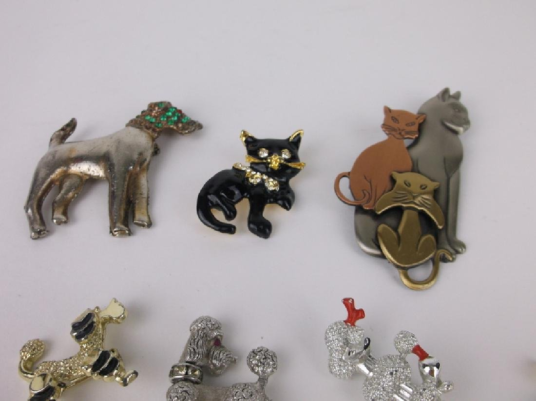 Vintage Dogs & Cats Brooch Jewelry Lot - 3