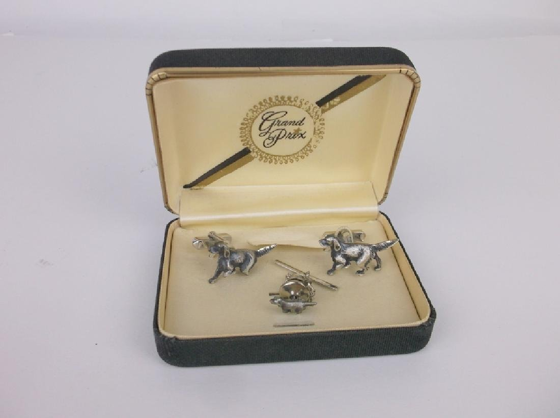 Antique Grand Prix Sterling Dog Cufflinks Set