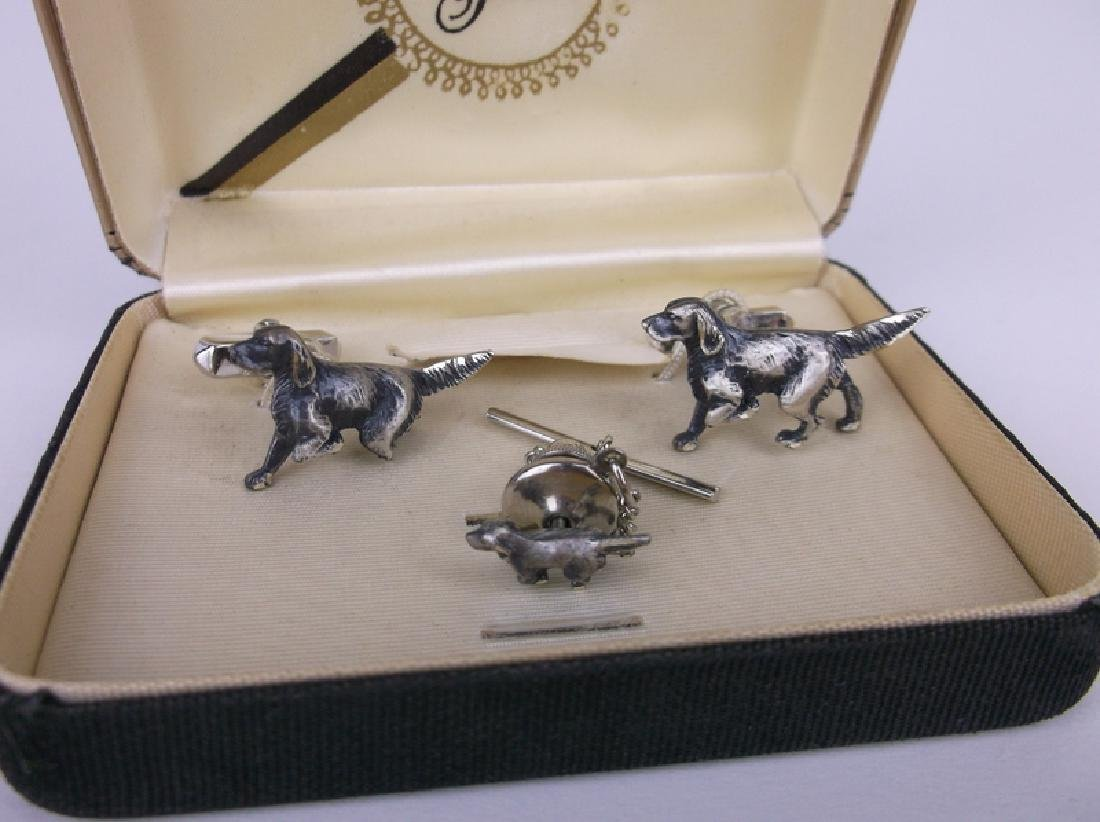 Antique Grand Prix Sterling Dog Cufflinks Set - 2