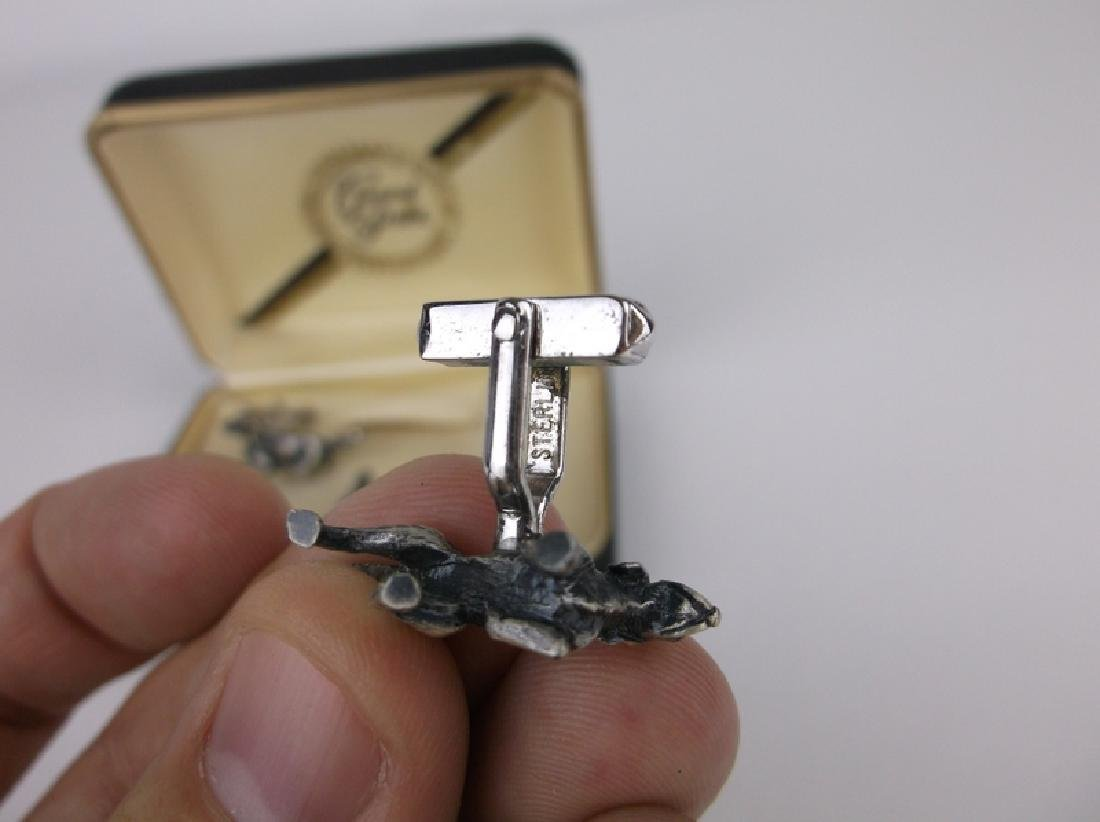 Antique Grand Prix Sterling Dog Cufflinks Set - 4