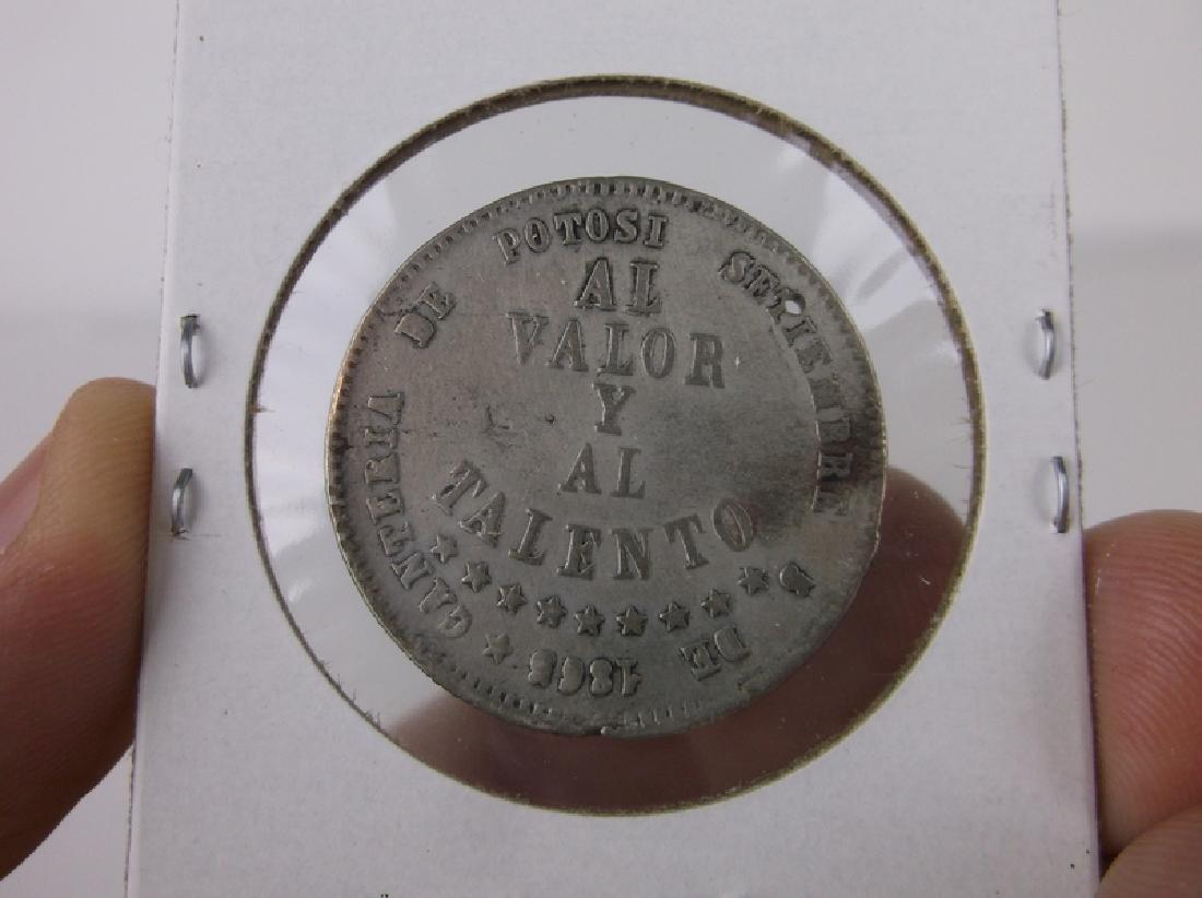 1865 Silver Bolivian Coin - 2