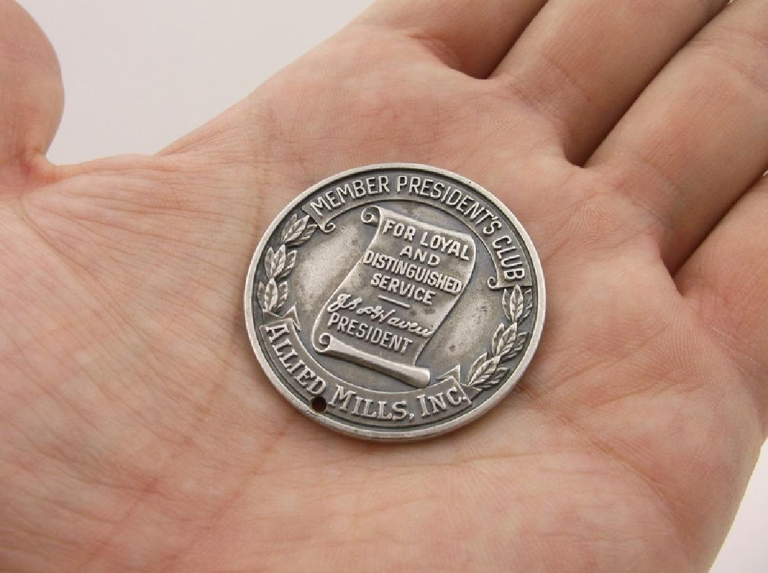Rare 1942 Allied Mills Sterling Silver Coin Pres Club