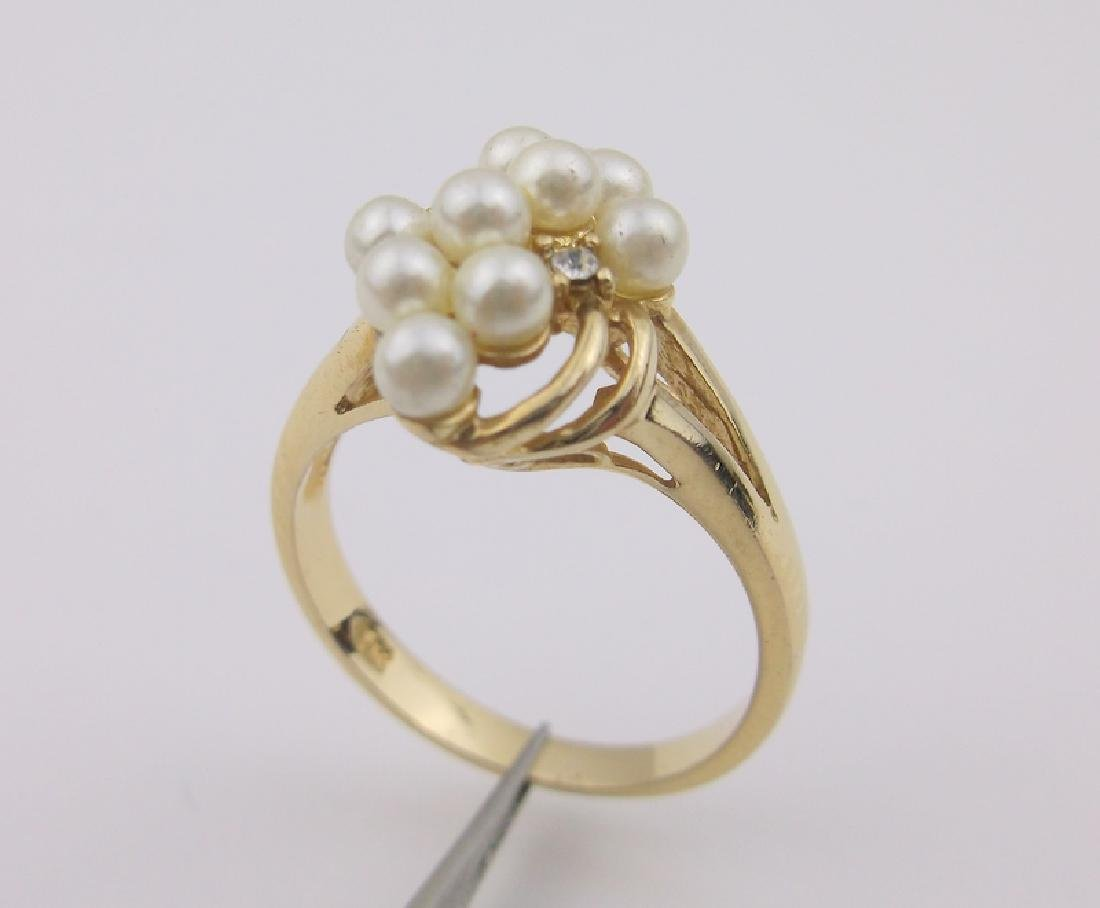Stunning 18kt Gold Pearl Cluster Ring 7