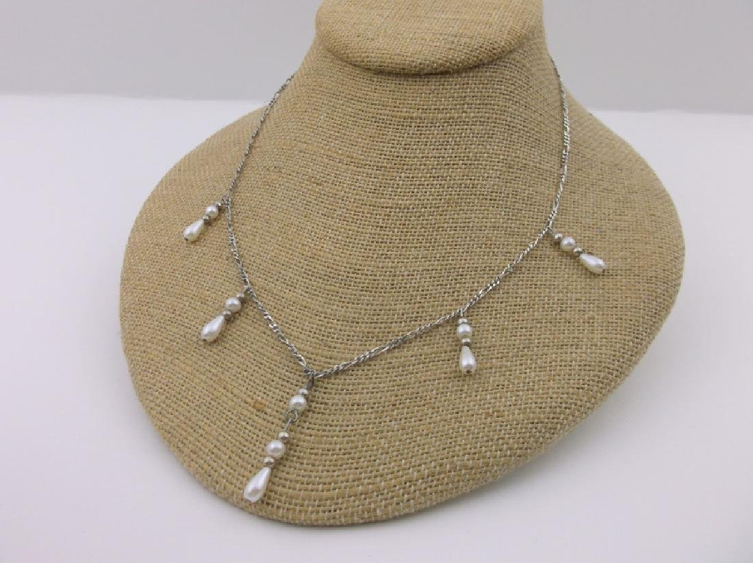 Stunning Sterling Silver Dangly Chain Necklace 18""