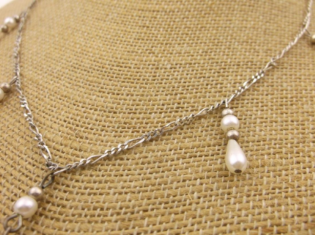 "Stunning Sterling Silver Dangly Chain Necklace 18"" - 2"