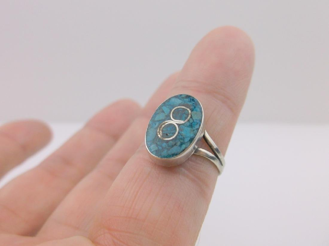 Sterling Silver Turquoise Infinity Ring 5.5