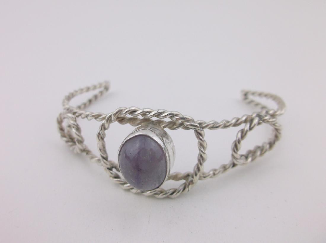 Stunning Sterling Silver Amethyst Cuff Bracelet
