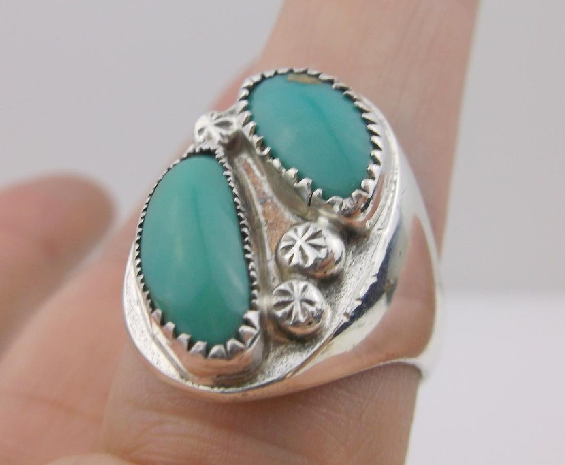 Stunning Mens Sterling Navajo Turquoise Ring 11