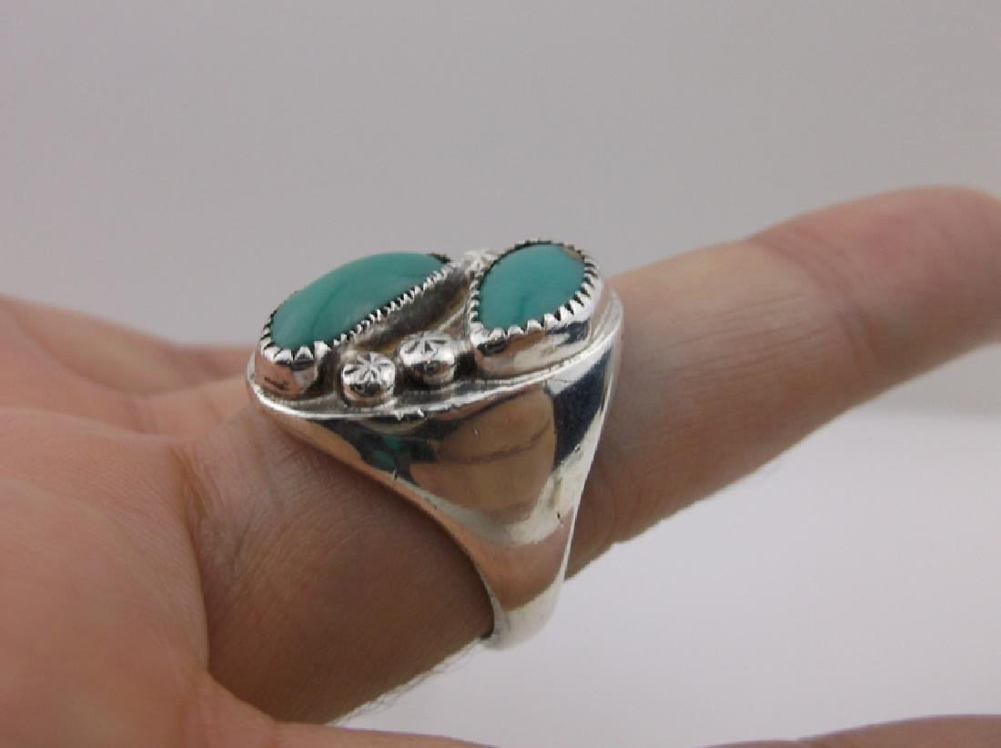 Stunning Mens Sterling Navajo Turquoise Ring 11 - 2