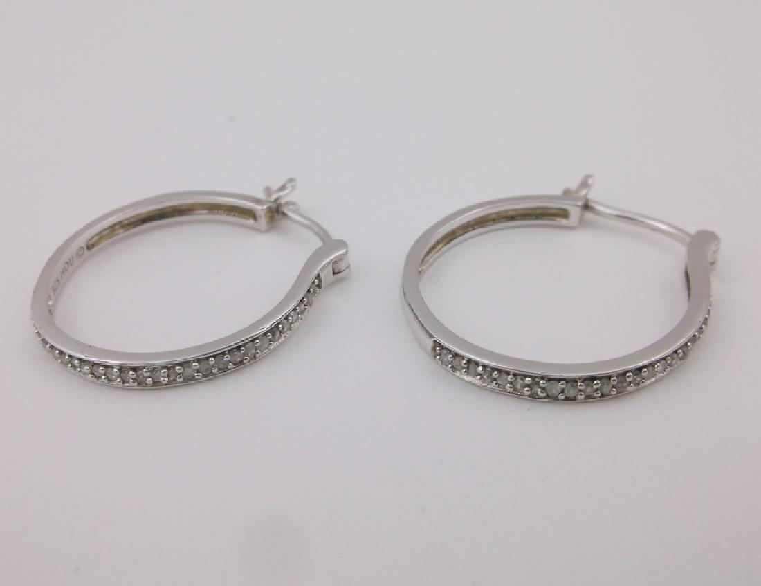 Stunning HOU Sterling Diamond Hoop Earrings