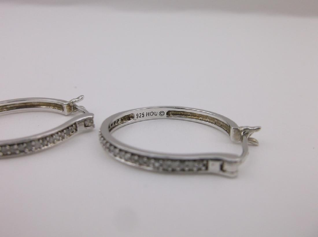 Stunning HOU Sterling Diamond Hoop Earrings - 2