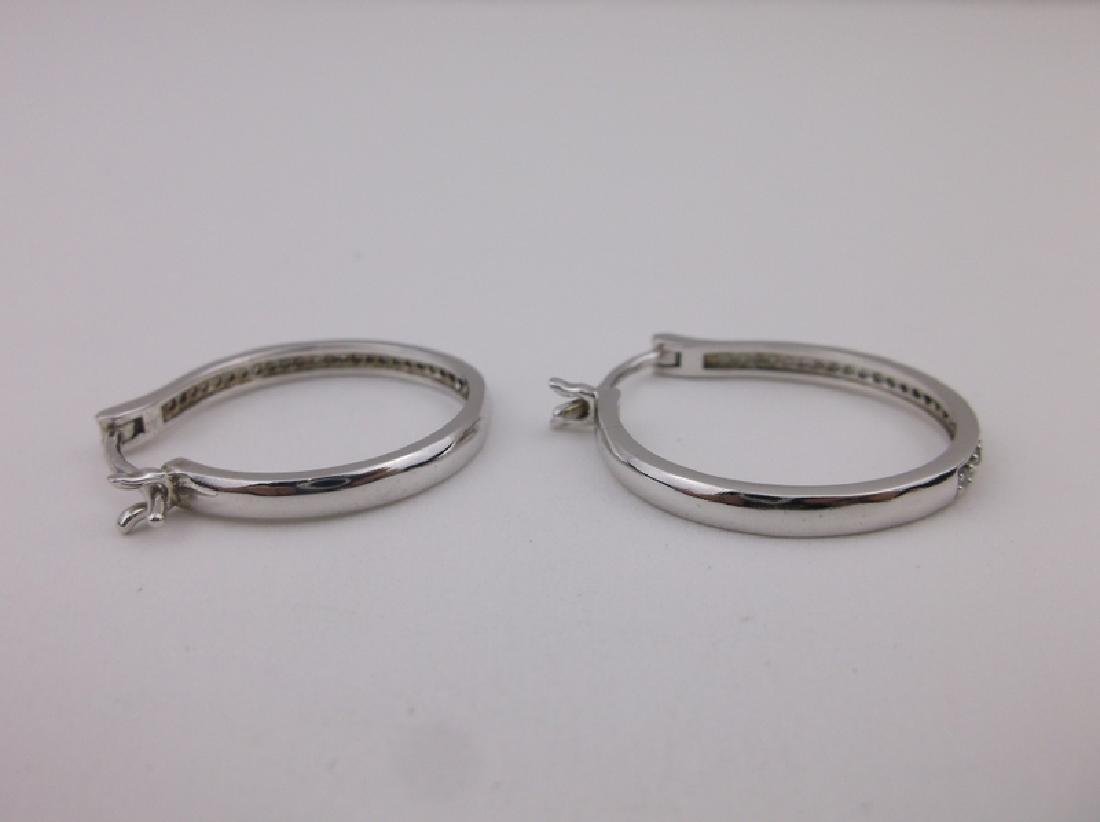 Stunning HOU Sterling Diamond Hoop Earrings - 3