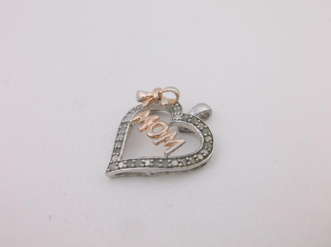 Gorgeous Sterling Gen Diamond Mom Pendant