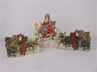 3 Gorgeous Thick Board Christmas Ornaments Santa