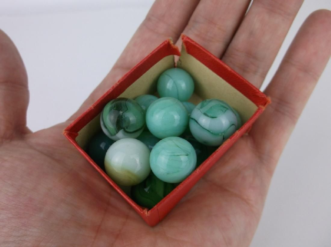 Antique Akro Agate Marbles Greens