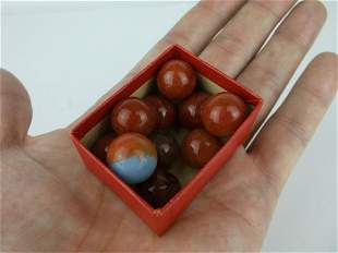 Antique Akro Agate Marbles Reds