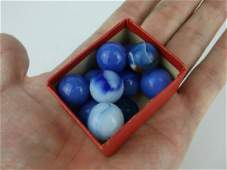 Antique Akro Agate Marbles Blues