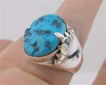Huge Zuni Sterling Turquoise Mens Ring 12 GF Stunning