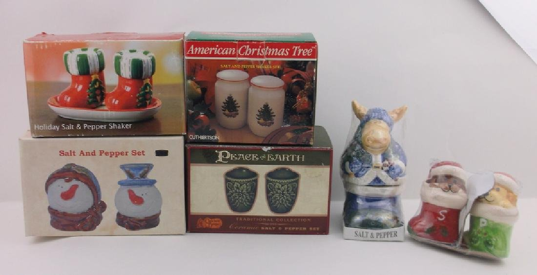 6 New In Box Christmas Salt & Pepper Sets