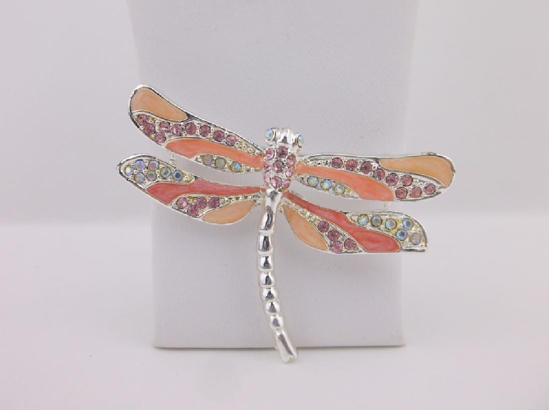 Stunning Rhinestone Enameled Dragonfly Brooch