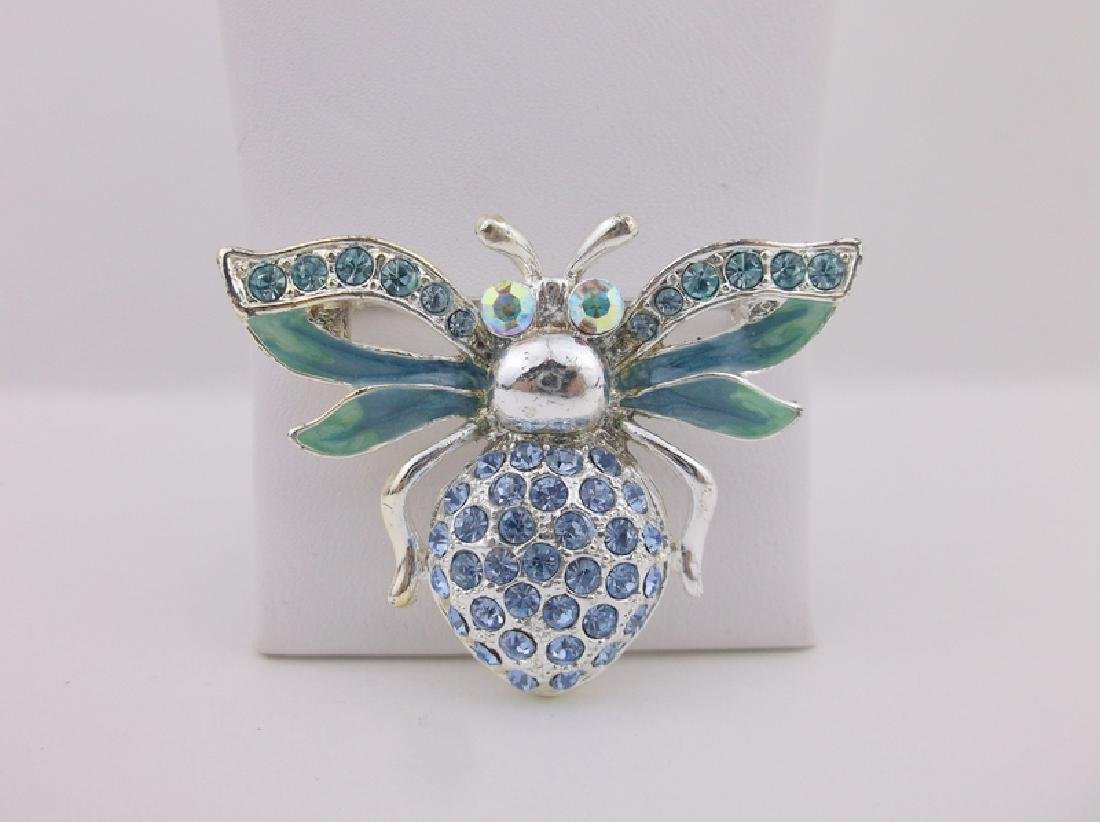 Stunning Enameled Rhinestone Insect Brooch