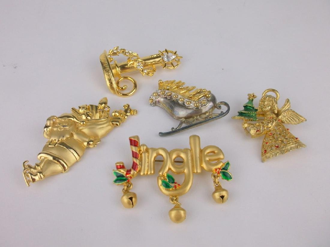 5 Gorgeous Vintage Christmas Brooch Lot