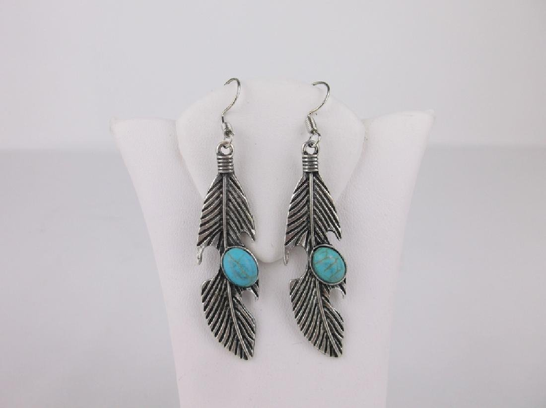 Stunning Southwestern Turquoise Earrings Feather