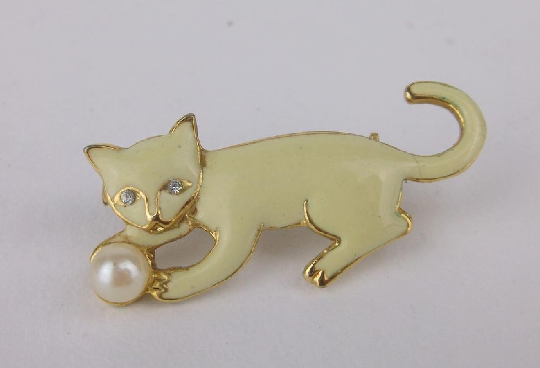 Gorgeous Enameled Cat Rhinestone Brooch