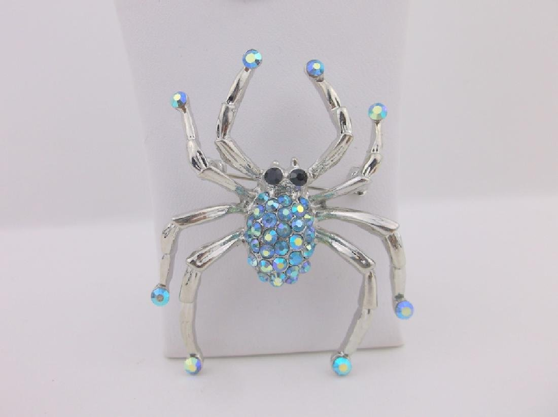 Stunning Large Rhinestone Spider Brooch