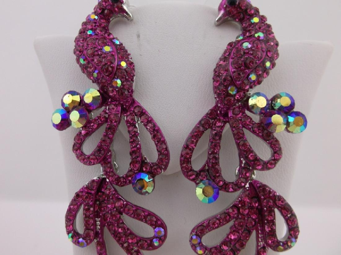 Stunning Large Rhinestone Peacock Earrings Large - 2