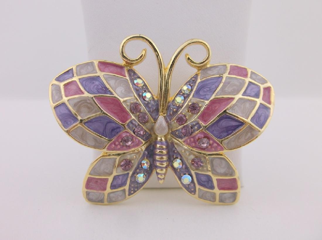 Stunning Enameled Rhinestone Butterfly Brooch
