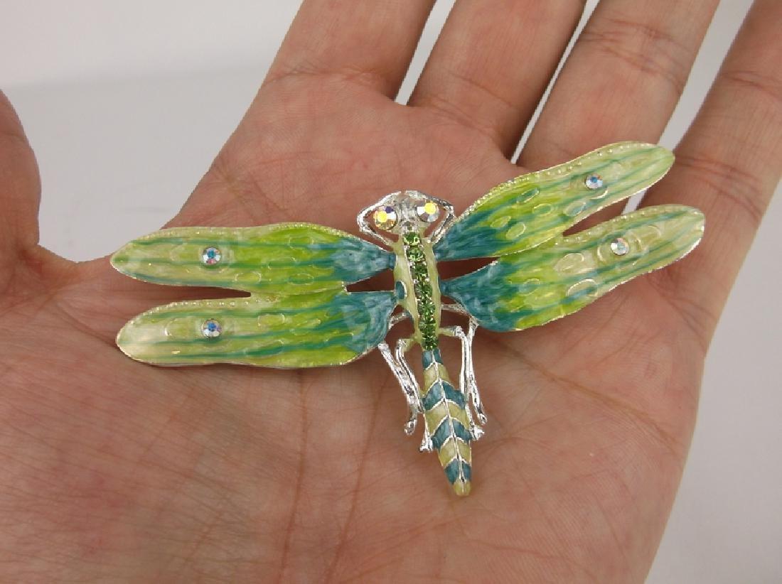 Large Enameled Rhinestone Dragonfly Brooch Pendant - 2