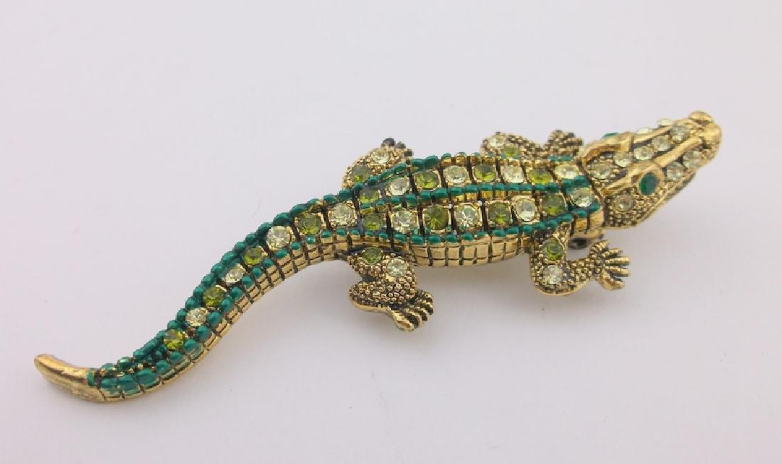 Incredible Rhinestone Alligator Brooch Large