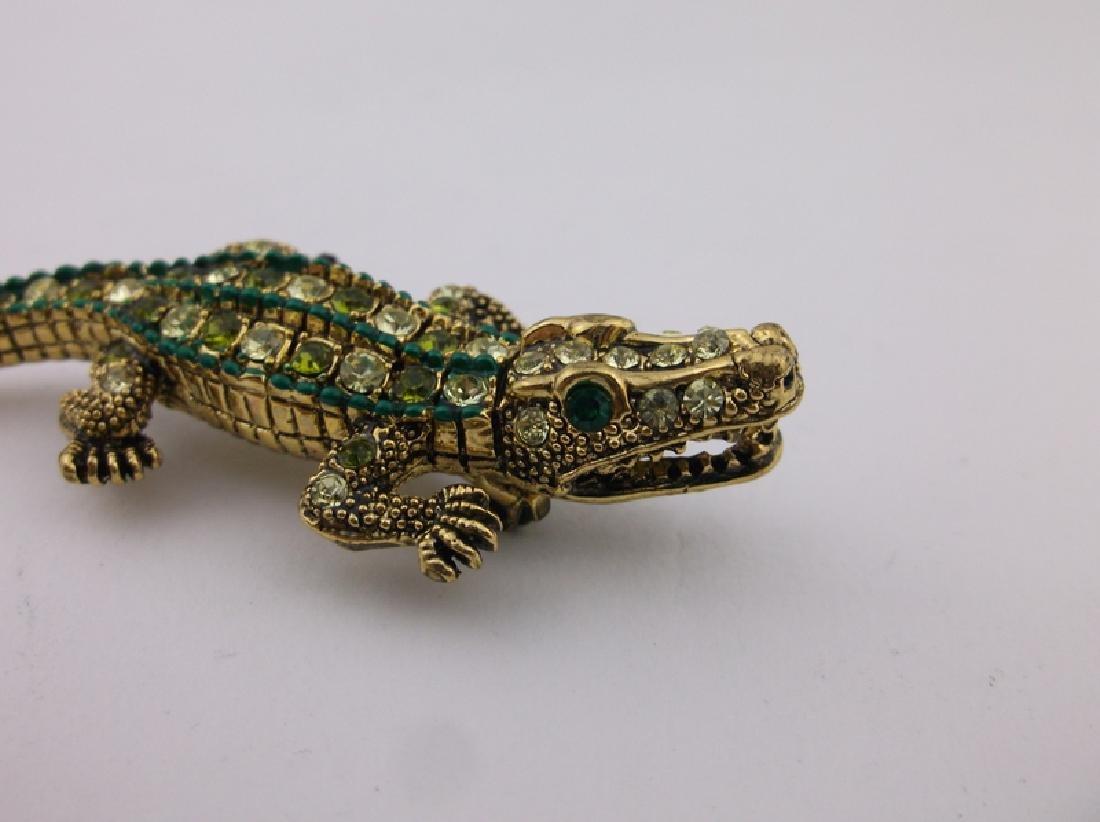 Incredible Rhinestone Alligator Brooch Large - 3